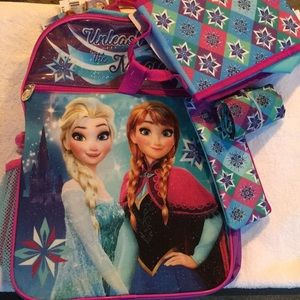Disney Frozen Backpack 5 piece set NWT Super Nice!
